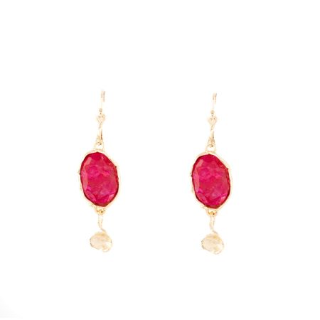 Red and Gold Sterling Silver Earrings