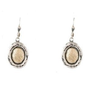 Sterling Silver and Gold Oval Earrings