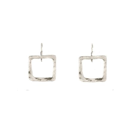 Don't Be Square Sterling Silver Hammered Earrings
