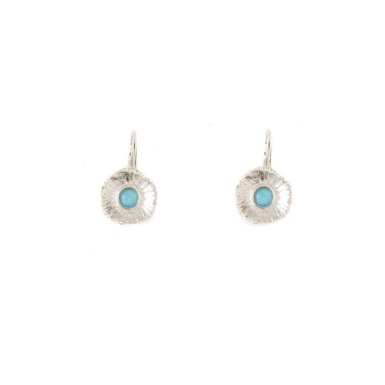 Sunshine Small Sterling Silver Earrings with Blue Opal