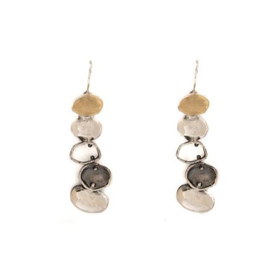 Tri color Sterling Silver Earrings