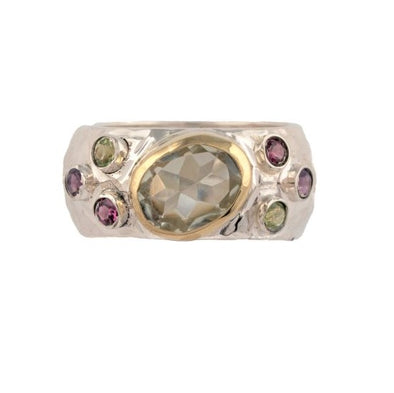 Hammered Sterling Silver and Gold Ring with Green Amethyst