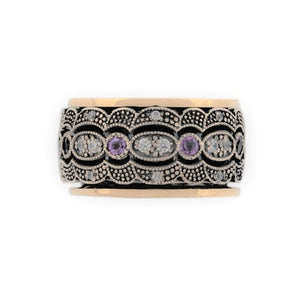 Dimona Sterling Silver and Gold Spinning Ring with Amethyst