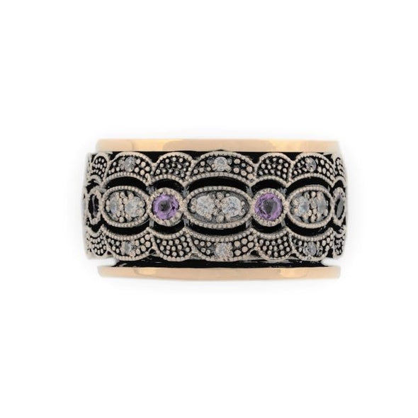Amethyst and Sterling Silver Spinning Ring