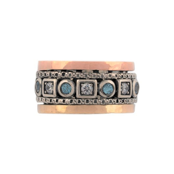 Gedera Sterling Silver and Two Tone Gold Ring with Blue Topaz
