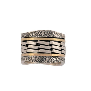 Pardes Sterling Silver and Gold Spinning Ring