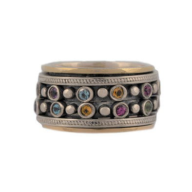 Netivot Sterling Silver Spinning Ring-Multi Stone
