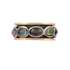 Nirit Multi Color Sterling Silver & Gold Spinning Ring