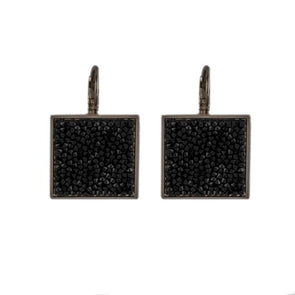 Swarovski fine crystal rock square shaped earrings in shimmery black