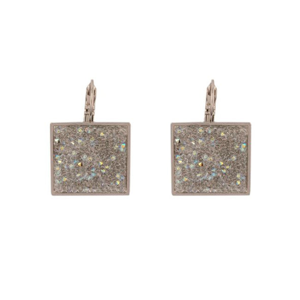Shimmer Fine Swarovski Crystal Rock Earrings- Gold