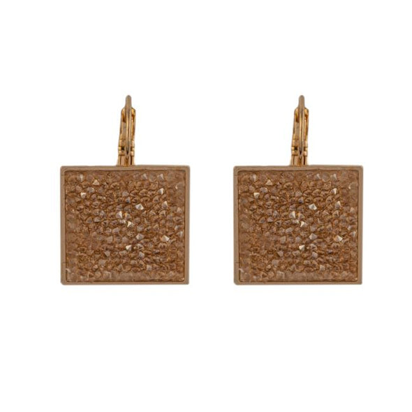 Gold Swarovski fine crystal rock  leverback earrings
