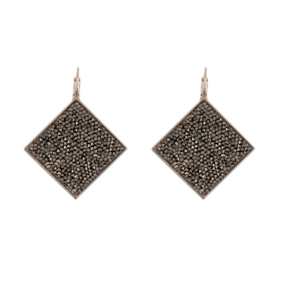 Shimmer Fine Swarovski Crystal Rock earrings- Silver Anthracite