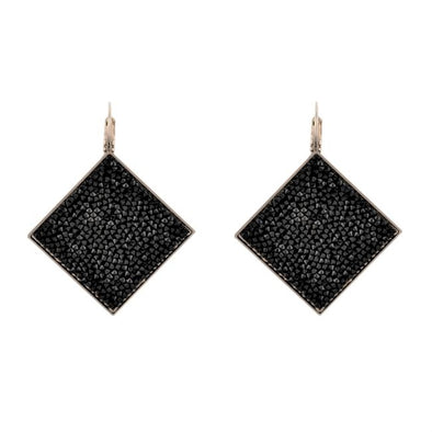 Swarovski Shimmer Fine Crystal Rock Earrings-Black