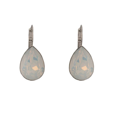 Swarovski crystal Pear Shape Earrings-White Opal