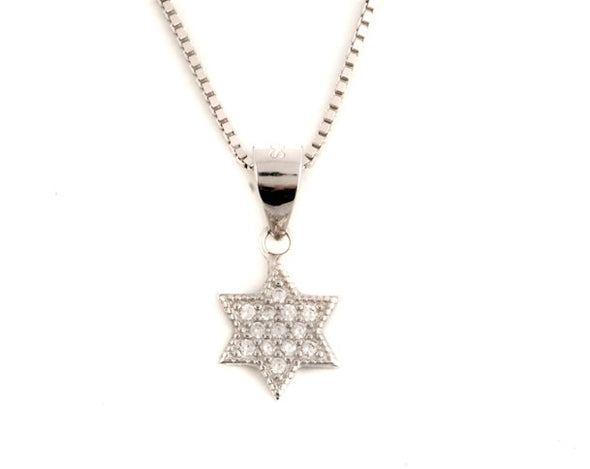 Sterling Silver Star Of David Necklace With Cubic Zirconia