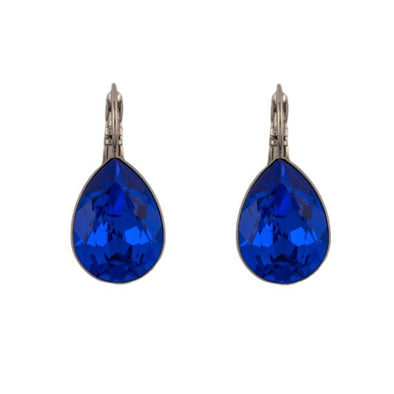 Pear Shape Swarovski Crystal Earrings -Sapphire blue