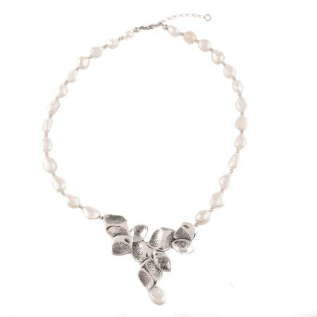Girls Love Pearls Sterling Silver Necklace -White