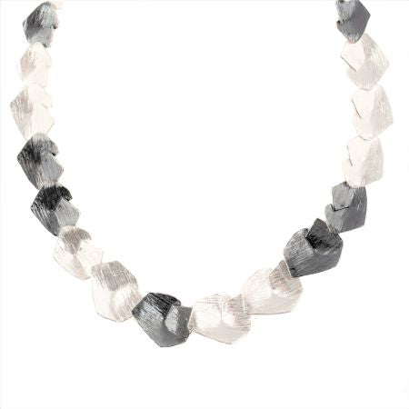 Two Tone Textured Sterling Silver Necklace