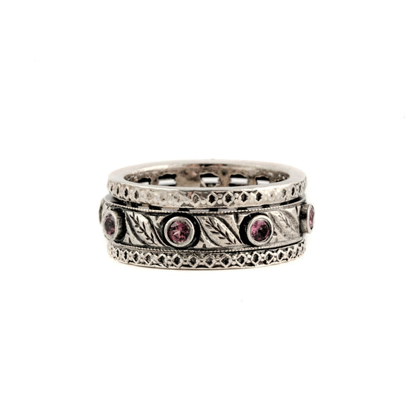 Sterling Silver Meditation Ring With Pink Stones