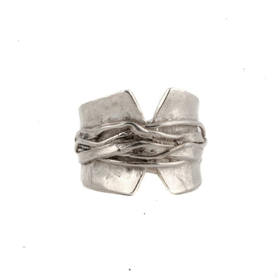 Sterling silver ring.  Modern hammered band with great design and comfortable fir.  Handmade in Israel ring