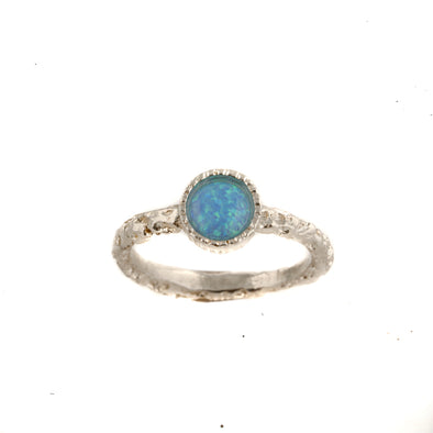Dainty textured sterling silver ring with round  blue opal stone