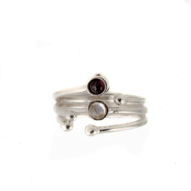 Dainty Sterling Silver Ring With Garnet and Moonstone