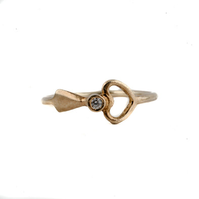 Dainty Gold Plated Sterling Silver Ring With Heart Design