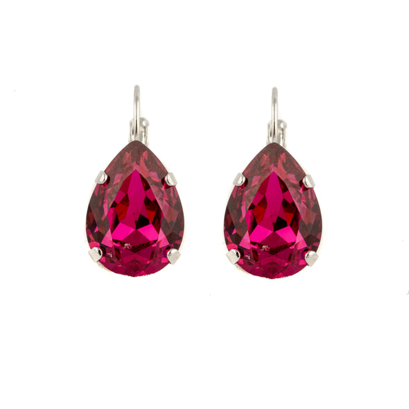 Pear Shaped Swarovski Crystal Earrings- Black Diamond (gray)