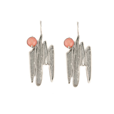 Peachy Pink Sterling Silver Earrings
