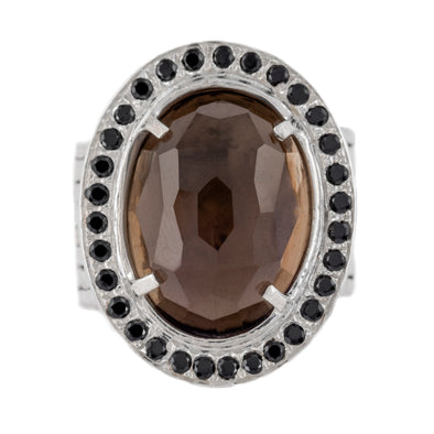 Smokey topaz and Spinel Sterling Silver Ring