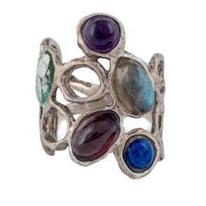 Roman Glass Sterling Silver Ring