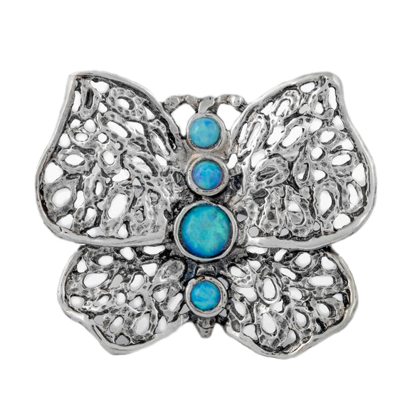 Butterfly Sterling Silver Ring with Opals