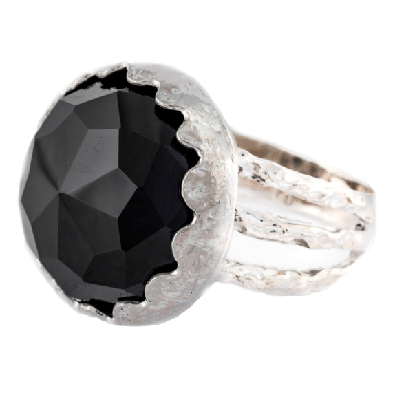 Onyx and sterling silver ring