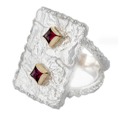 Sterling Silver Statement Ring with Garnets