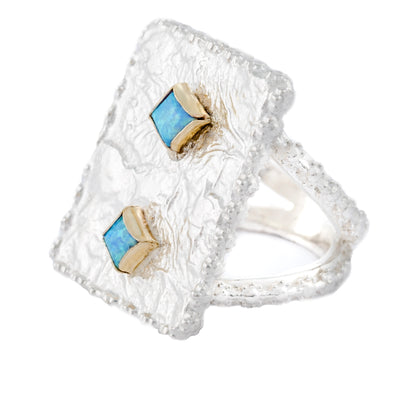 Blue Opal Sterling Silver Statement Ring