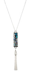 Sterling silver necklace set with ancient roman glass and tassle finish