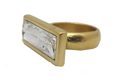 Clear Cut Crystal Ring - Gold