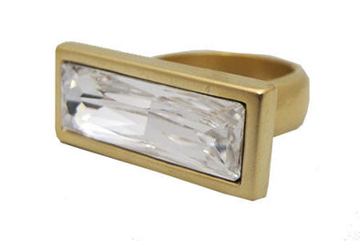 Rectangular shaped  clear Swarovski crystal ring set in a matte goldd finish