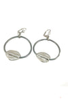 Grey leather hoop earrings