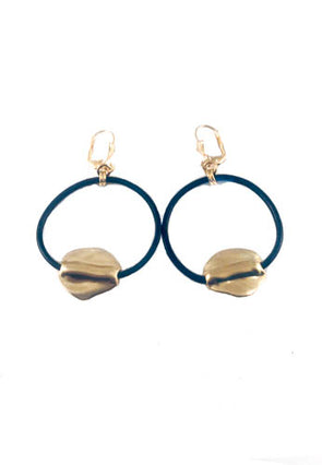 Black leather hoop earrings
