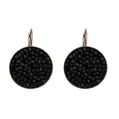 Black Beauty Swarovski Crystal Rock Earrings