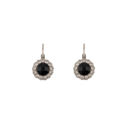 Black and white swarovski crystal earrings