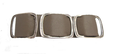 Taupe Leather And Metal Bracelet