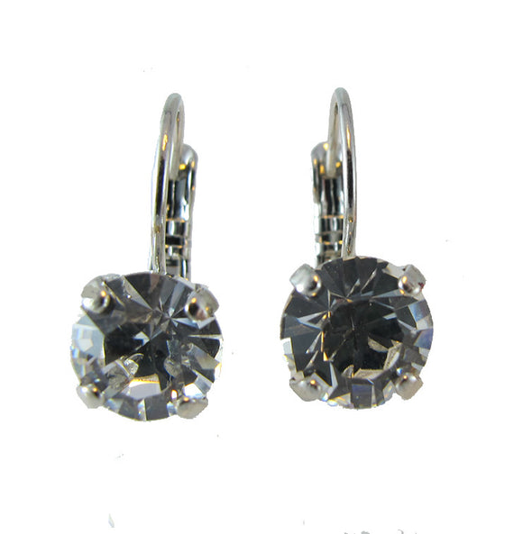 Small swarovski crystal earring in dark gray.