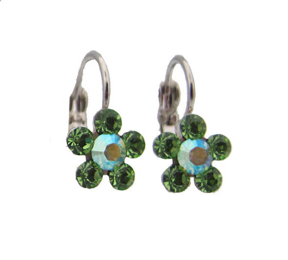 Small swarovski crystal flower earrings in light green
