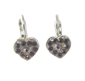 small heart chaped earrings set with swarovski  crystals in mauve