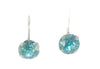 Small swarovski crystal earrings in turquoise. Lever back clasp