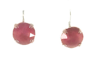 Small red swarovski crystal earrings with lever back clasp