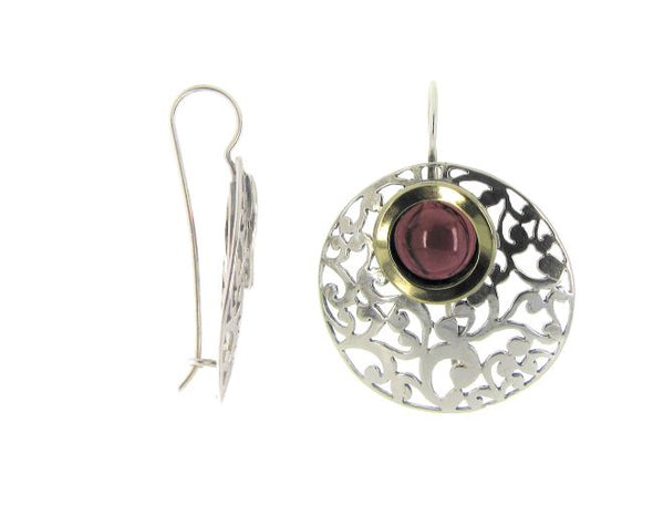 Garnet, Gold and Sterling Silver Earrings