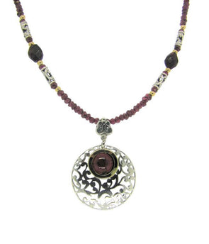 Garnet and Sterling Silver Necklace with Touch of Gold